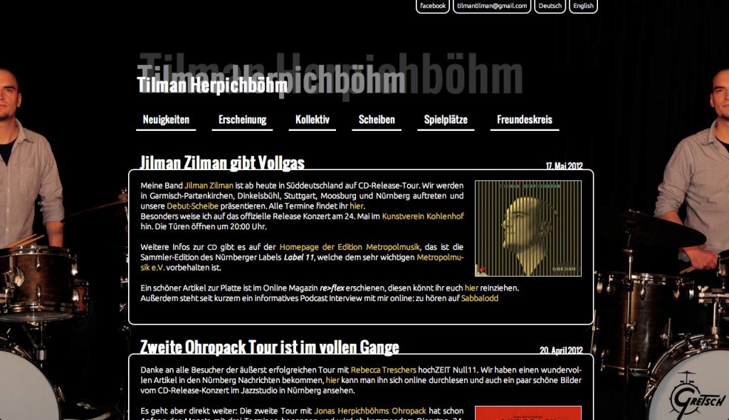 Portfolio für Diplomschlagzeuger Tilman Herpichböhm